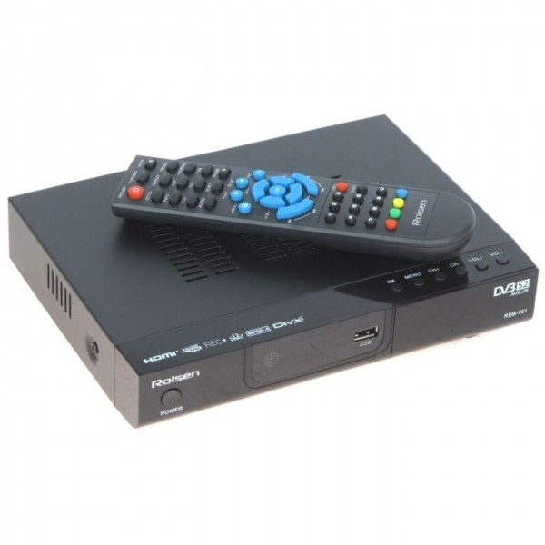 Ресивер DVB-S2 Rolsen RDB-701 Черный